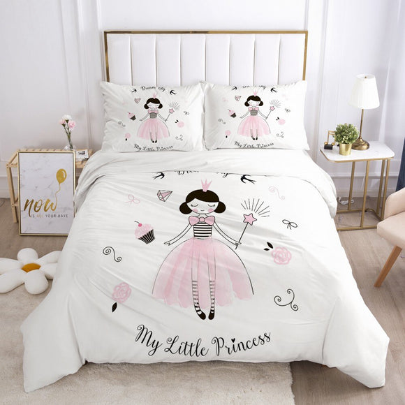 Girls Princess Set Cute Duvet Cover