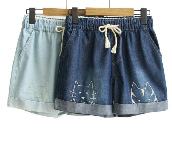 Cat Embroidery Women Denim Shorts