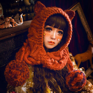 Winter Cat Ears Scarf Beanie Christmas outfit