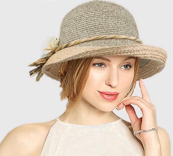 Summer hat women straw cap with flower