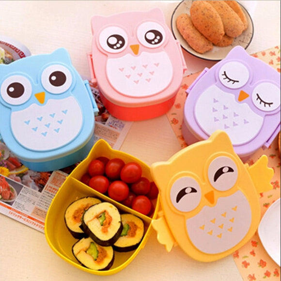 Owl cartoon lunchbox kids microwave plastic food containers