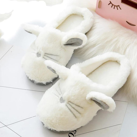 Cat Winter Women Home Slippers Soft Plush Bottom Slipper Cotton