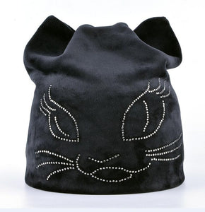 Winter Beanie Hats For Women Diamond Cat Velvet