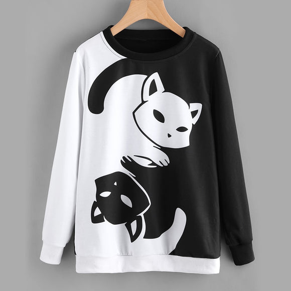 Yin Yang  Cat Women Hoodies Sweatshirts Cat Pullover