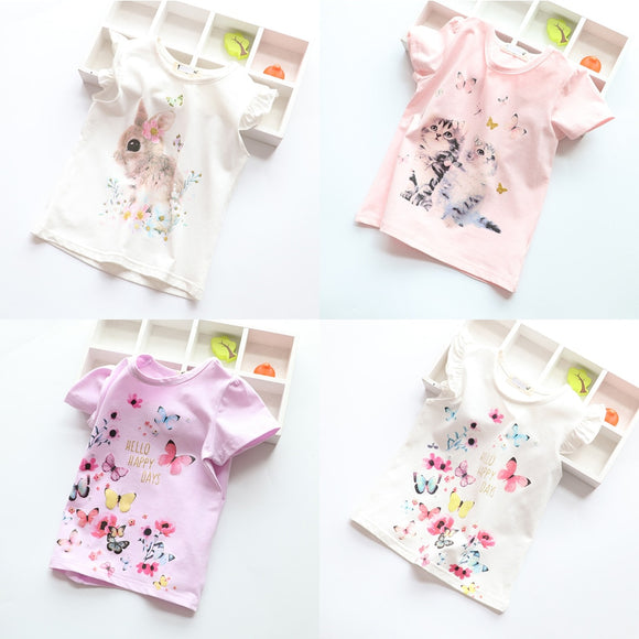 Cotton Kids T-Shirt Children Summer Short Sleeve for Girls