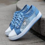 Women Trainers mesh denim lace-up