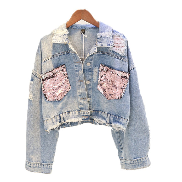 Denim Jacket Short Sequin Denim Jacket