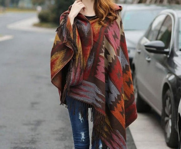 Bohemian Hooded Coat Cape Wrap Festival Poncho Shawl Scarf Cotton and Acrylic Tribal Fringe