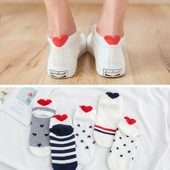 5Pairs Cotton Socks Pink Cute Cat Ankle Socks Animal Ear Red Heart Socks 35-40