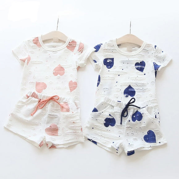 Baby Girls Heart Printed Girl Short Sleeve Tops Shirts + Shorts Casual Kids set