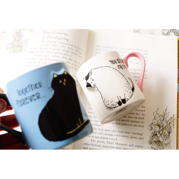 2PCS set Cat Ceramics Love Mugs