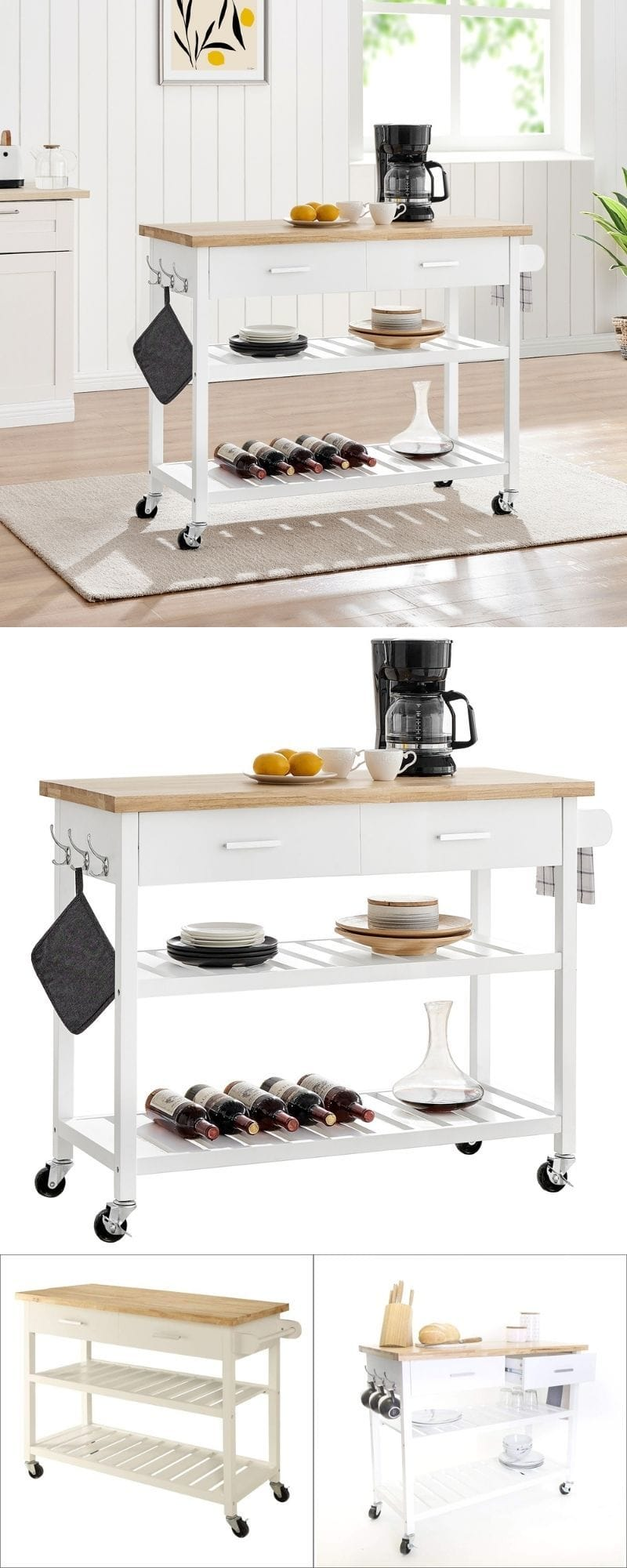 Kitchen Solid Natural Wood Top Island Trolley White