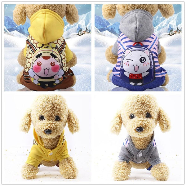 Petgear.co.nz Cartoon Fake Straps Hoodied Sweatshirts Dog Clothes