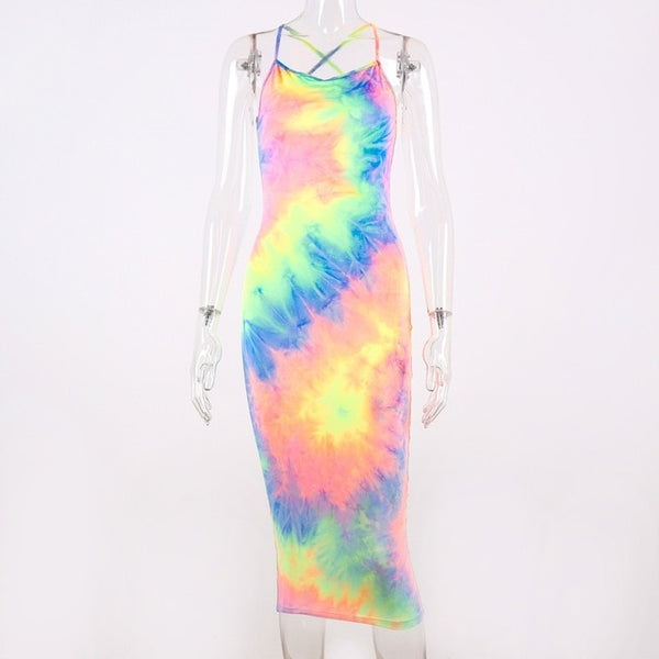 Hugcitar tie dye slip backless sexy 2019 summer autumn women fashion high waist slim party elegant bodycon midi dress