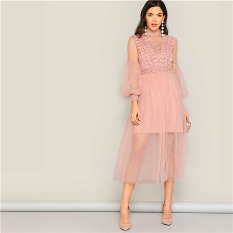 SHEIN Pearl Beaded Bishop Sleeve Sheer Mesh Overlay Dress Women Summer Dresses Romantic Pastel Stand Collar Dresses