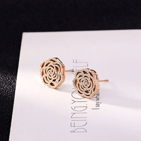 Fashion Titanium Steel Scrub Rose Earrings High Quality Non-Fading Woman Flower Earring Jewelry