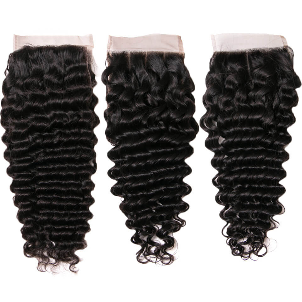 Msbeauty 4x4 Virgin Human Hair Deep Wave Lace Closure Free Part Baby Hair Pre Plucked - MSBEAUTY HAIR