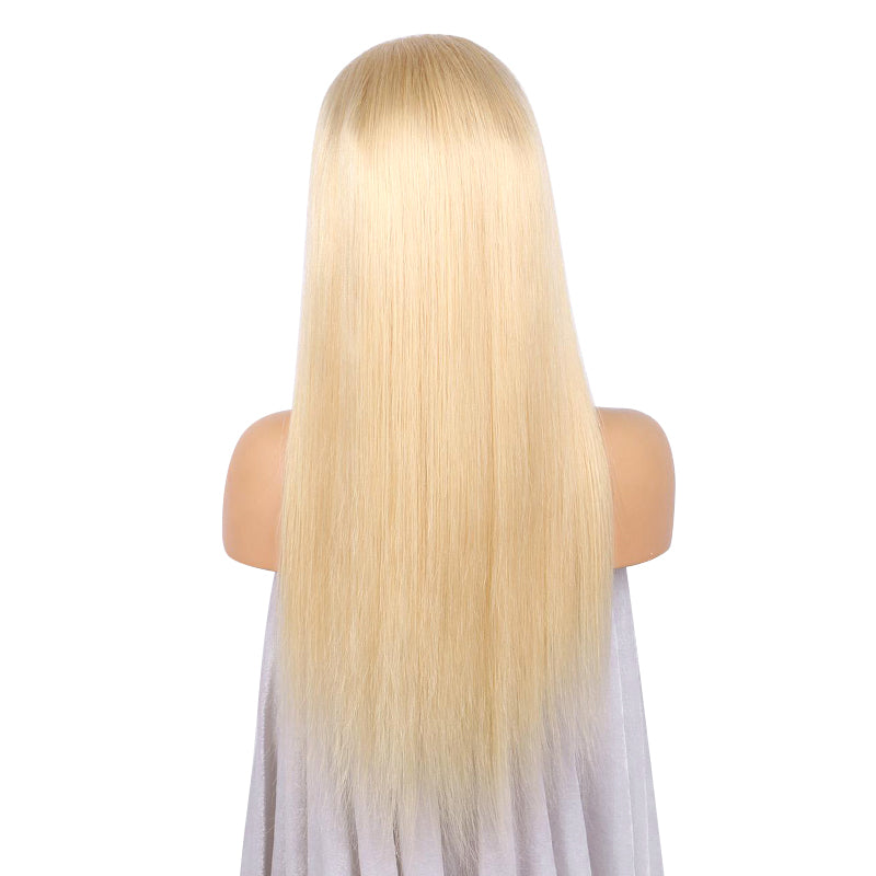 Msbeauty Pure Blonde Lace Front Silky Straight 150% Density Natural Hair Line Free Part Lace Wig - MSBEAUTY HAIR