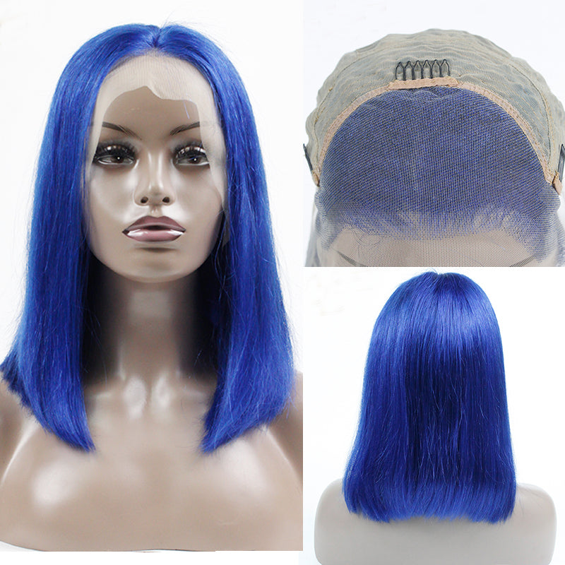 Msbeauty Royal Ombre Blue Lace Front Bob Straight Wig With Black Roots 170% Density - MSBEAUTY HAIR