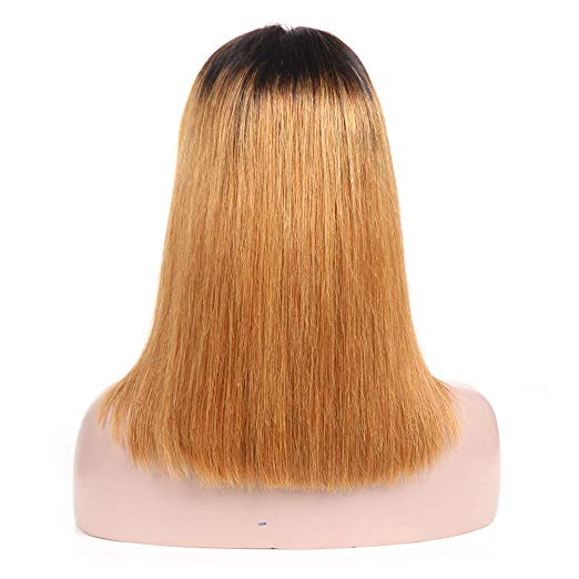 Msbeauty Lace Front Ombre Honey Blonde Bob Wig Straight Brazilian Hair - MSBEAUTY HAIR