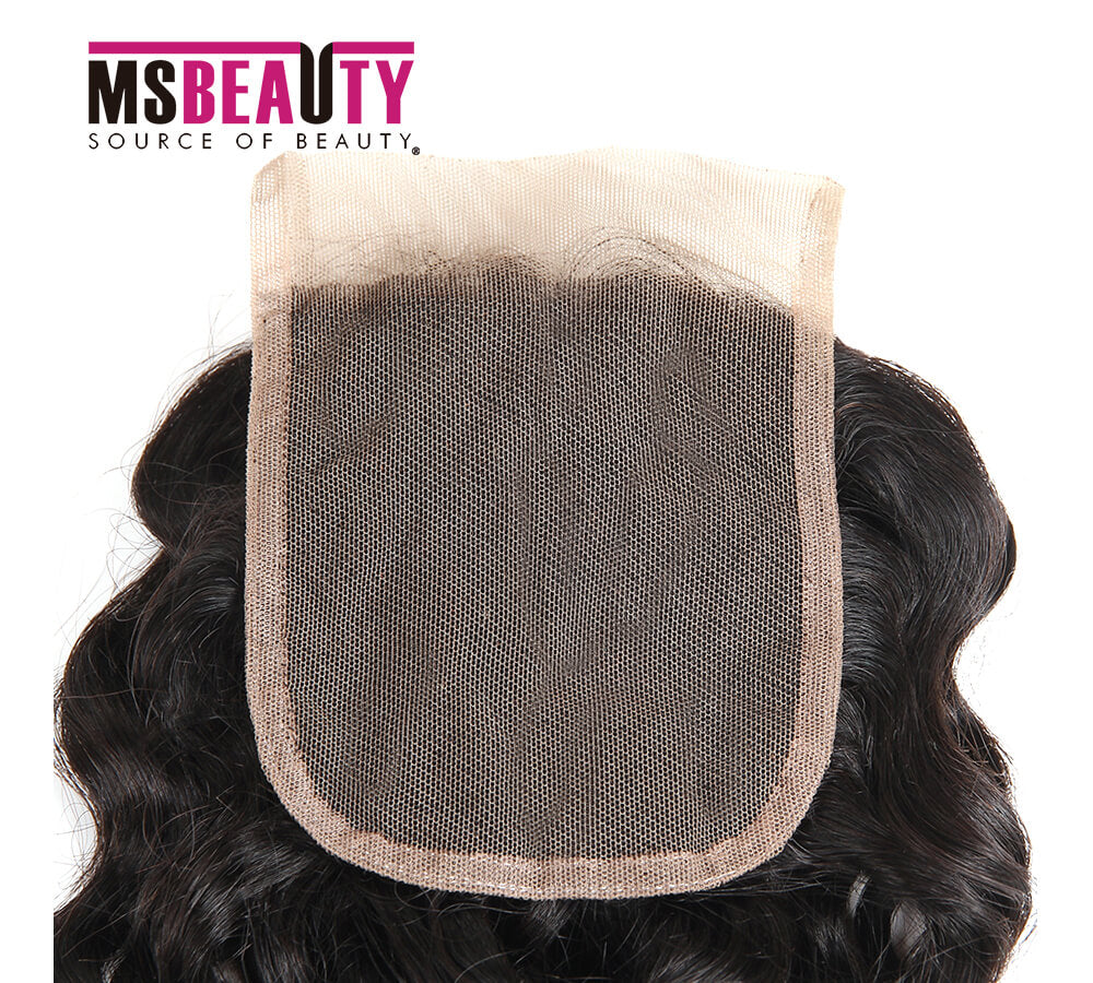 Msbeauty Virgin Remy 4x4 Lace Closure Water Wave Natural Color Free Part - MSBEAUTY HAIR