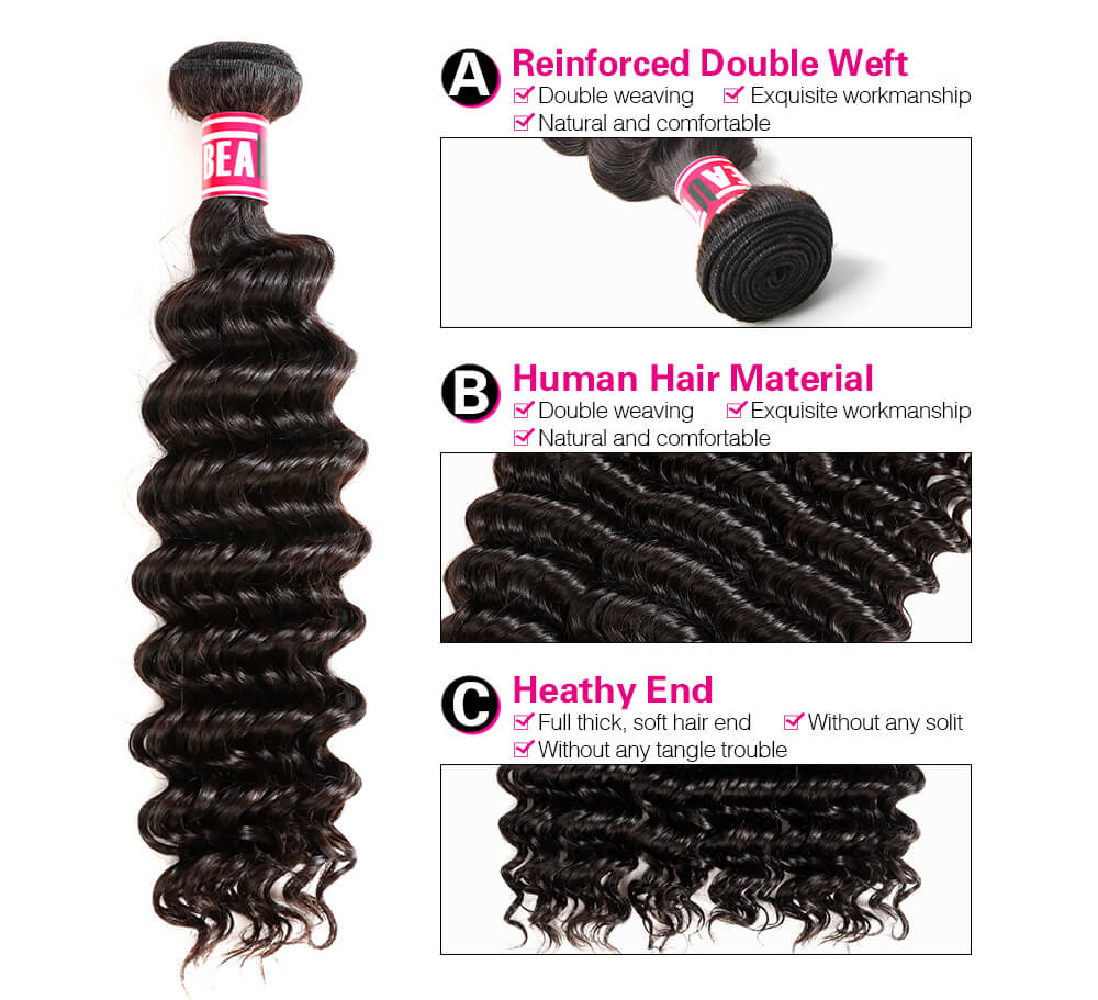 Msbeauty Peruvian Deep Wave Curly Human Hair 3 Bundles Deal - MSBEAUTY HAIR