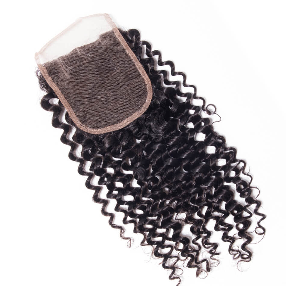 Msbeauty Grade 10A Virgin Brazilian Human Hair Jerry Curl 4x4 Lace Closure - MSBEAUTY HAIR