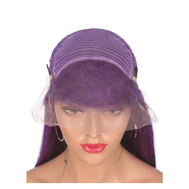 Msbeauty Virgin Human Hair Quality Purple Color Lace Front Straight Wig - MSBEAUTY HAIR