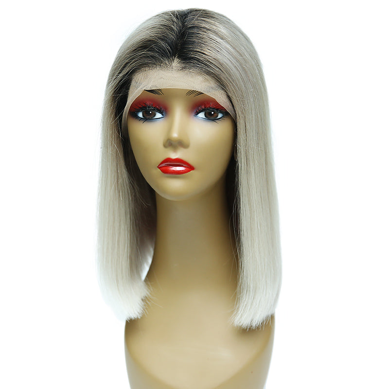 Msbeauty 2019 Trendy Wig Lace Front Bob T1B/SILVER Human Hair Wig With Black Roots - MSBEAUTY HAIR