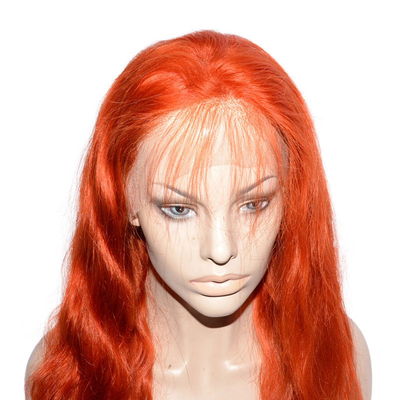 Msbeauty Aquman Princess Mera Orange Real Human Hair Quality Long Wavy Orange Wig - MSBEAUTY HAIR