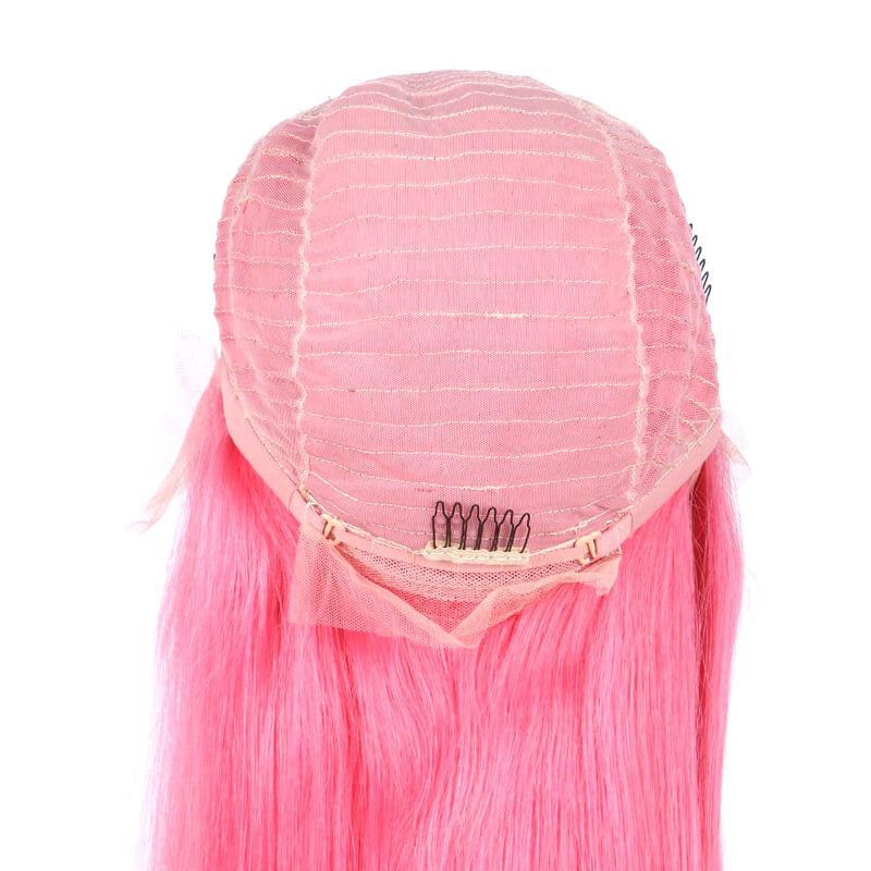 Msbeauty Hot Pink Lace Front Human Hair Wig Free Part WIth Baby Hair - MSBEAUTY HAIR