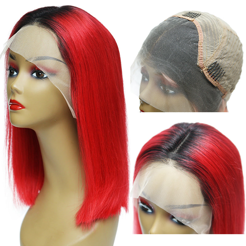 "Msbeauty Lace Front Bob Straight Brazilian Red With Blakc Roots Ombre Color 14"" - MSBEAUTY HAIR"