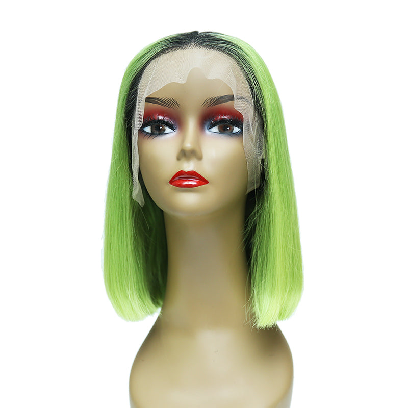 Msbeauty Summer Lace Front Wig New Color Neon Green Human Hair Wig Straight Bob Short Cut - MSBEAUTY HAIR