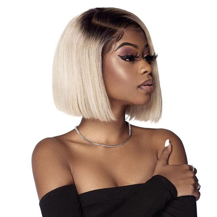 Msbeauty T1B/613 Ombre Blonde Straight Bob Lace Front Wig 2019 Best Seller - MSBEAUTY HAIR