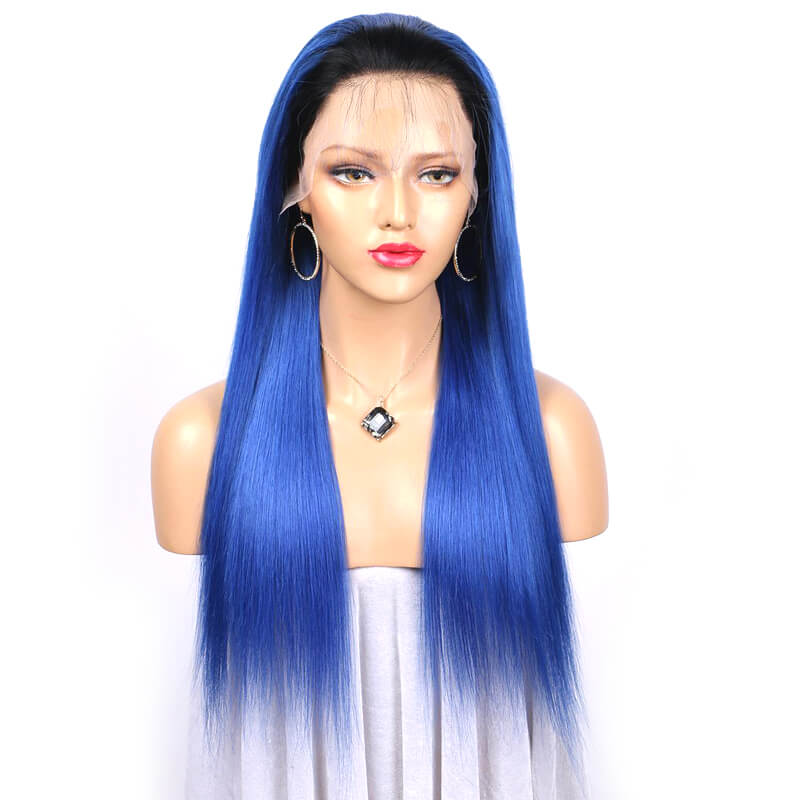 Msbeauty Color Ombre Blue Lace Front Human Hair Straight Wig - MSBEAUTY HAIR