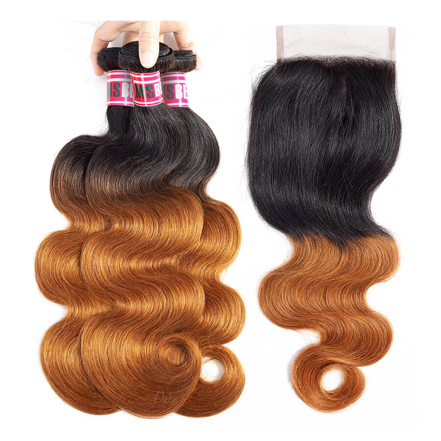 Msbeauty Body Wave T1B/30 Ombre Amber Hair Bundles 3 Pcs With 4x4 Lace Closure Free Shipping - MSBEAUTY HAIR