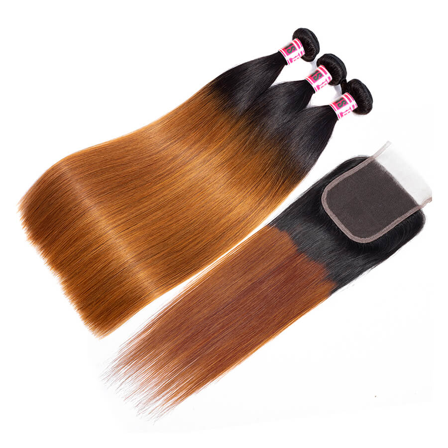 Msbeauty Brazilian Straight Hair 3 Pcs Sales With 4x4 Lace Closure Free Part Pre Plucked - MSBEAUTY HAIR