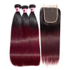 Msbeauty T1B/BUG Brazilian Straight Remy Hair 3 Pcs With 4x4 Lace Closure  99J Hair Weaves - MSBEAUTY HAIR