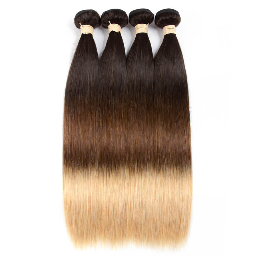 Msbeauty 3 Bundles Straight Beyonce Ombre Blonde Hair Color Unprocessed Remy Hair Extensions - MSBEAUTY HAIR
