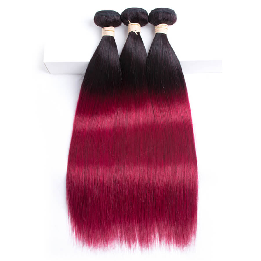 Msbeauty T1B/Burg Ombre Trendy Hair Color Brazilian Remy 3 Pcs/Pack Bundles Deal - MSBEAUTY HAIR