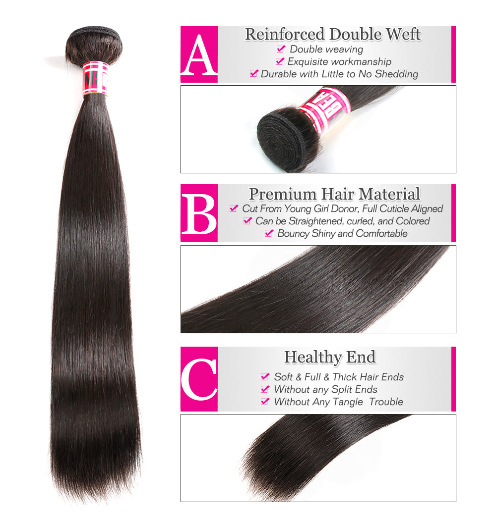 "Msbeauty Malaysian Hair Remy Straight 4 Bundles Sale 8""-30"" Silky Straight - MSBEAUTY HAIR"
