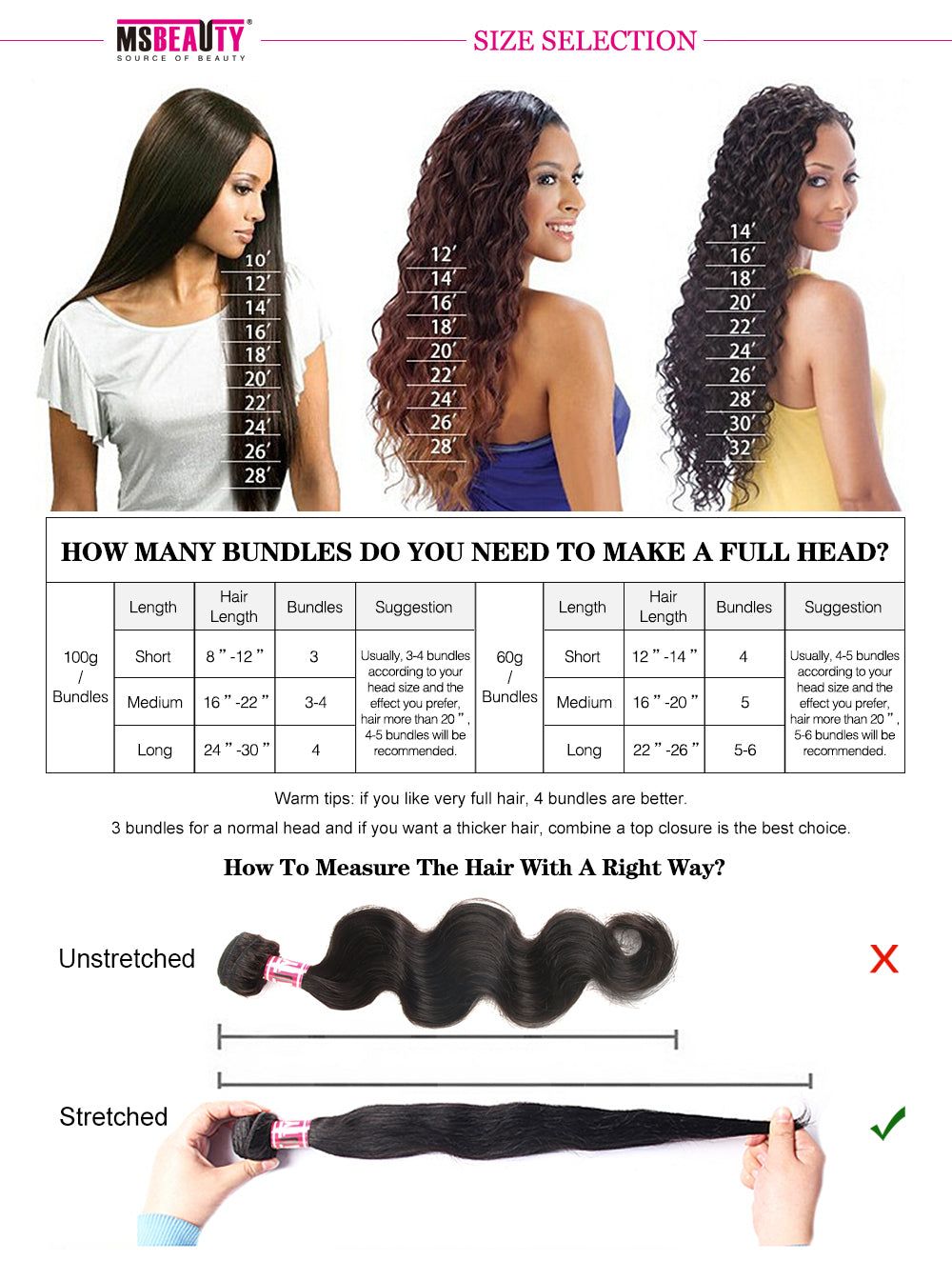 "Msbeauty Brazilian Bundles Unprocess Human Hair 4Pcs/Pack Straight 8""-30"" Long Natural Black 1B - MSBEAUTY HAIR"