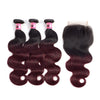 Msbeauty Brazilian Hair Body Wave Burguandy Hair Bundles Ombre Color With 8A 4X4 Lace Closure - MSBEAUTY HAIR