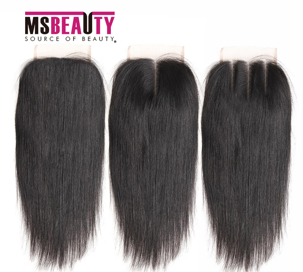 Msbeauty 10A 100% Human Hair 4x4 Free Part, Middle Part Hand Tied Transparent Lace Closure - MSBEAUTY HAIR