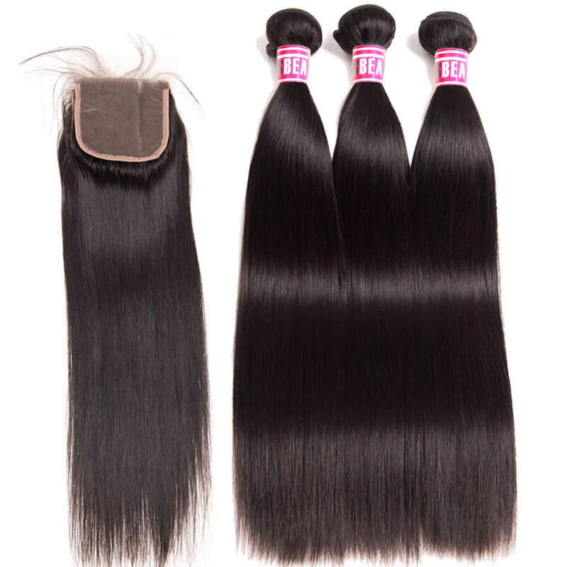 "Msbeauty Brazilian Straight Hair 3 Bundles With 4x4 Lace Closure Free Part Pre Plucked  10""-28"" - MSBEAUTY HAIR"