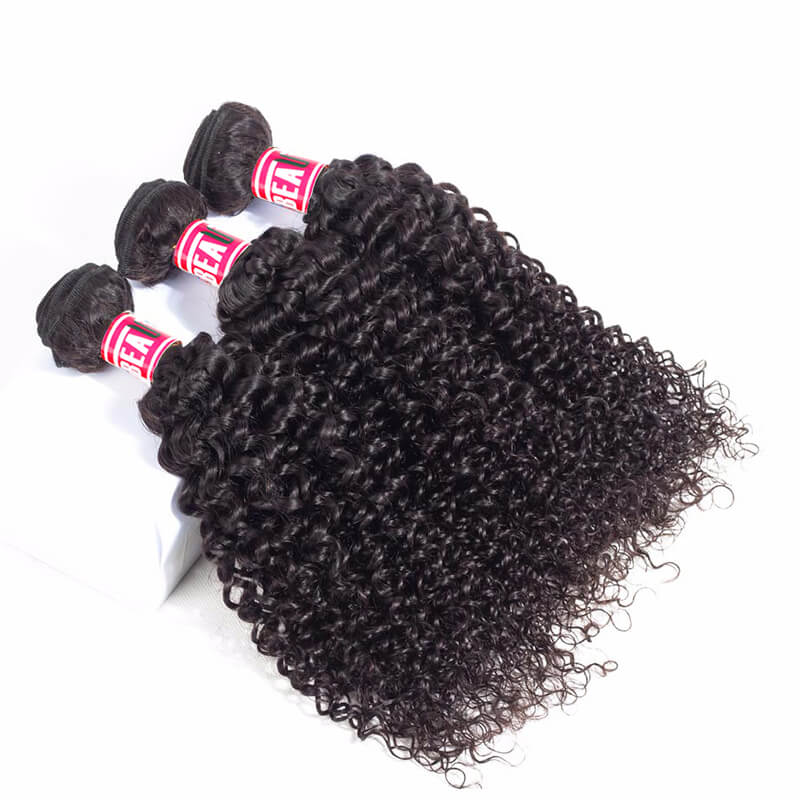 Msbeauty Indian 8A Kinky Curly Human Hair Bundles 3 Pcs With 13*4 Lace Frontal Closure - MSBEAUTY HAIR
