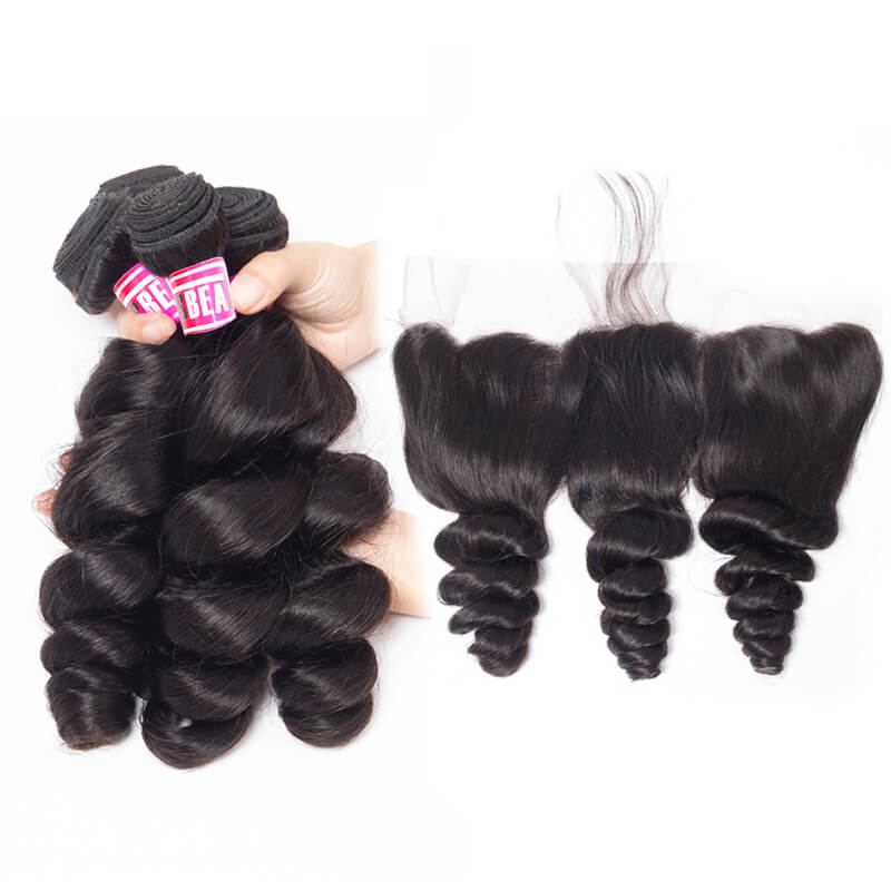 Msbeauty Loose Wave Indian Remy Bundles 3 Pcs With Free 13x4 Lace Frontal Closure Long Wavy - MSBEAUTY HAIR