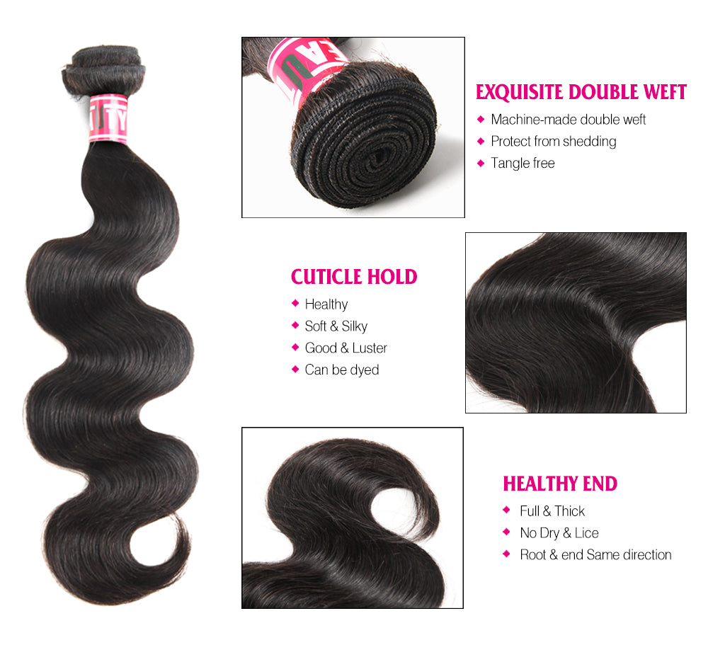 Msbeauty Brazilian Body Wave 3 Bundles Hair Weaves With 4x4 Free Part Lace Closure Natural Black - MSBEAUTY HAIR