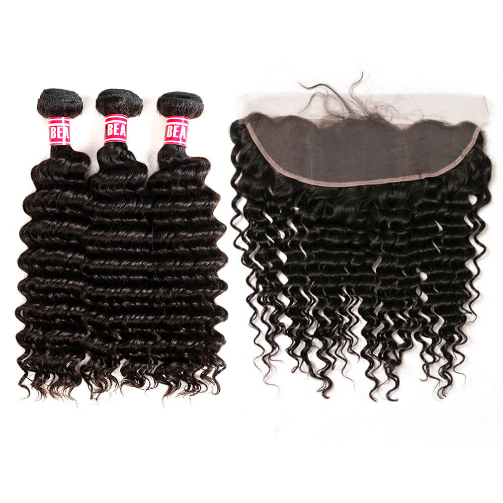 Msbeauty Best Seller Curly Hair Bundles Malaysian Deep Wave 3 Pcs with 13*4 Frontal Closure - MSBEAUTY HAIR