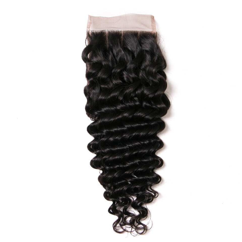 Msbeauty Brazilian Remy Unprocessed Hair 3 Bundles Deep Wave With 4x4 Lace Closure Curly Hair - MSBEAUTY HAIR